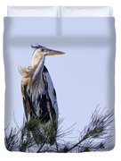 Great Blue Heron On A Windy Day Duvet Cover by Roger Wedegis
