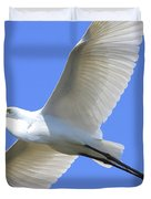 Great White Egret In Flight . 40D6850 Duvet Cover by Wingsdomain Art and Photography
