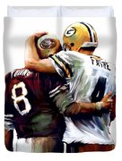 Greatness  Brett Favre And Steve Young  Duvet Cover by Iconic Images Art Gallery David Pucciarelli