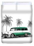 Green 56 Chevy Wagon Duvet Cover by Peter Piatt
