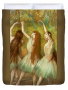 Green Dancers Duvet Cover by Edgar Degas