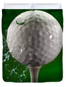 Green Golf Ball Splash Duvet Cover by Steve Gadomski