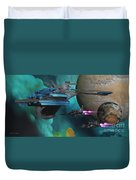 Green Nebular Expanse Duvet Cover by Corey Ford