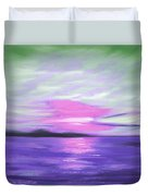 Green Skies And Purple Seas Sunset Duvet Cover by Gina De Gorna