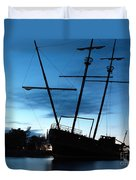 Grounded Tall Ship Silhouette Duvet Cover by Oleksiy Maksymenko