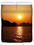 Ha Long Bay Sunset Duvet Cover by Oliver Johnston