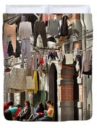 Hanging Out In The Streets Of Shanghai Duvet Cover by Christine Till