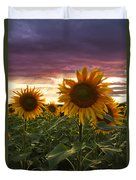 Happiness Is A Field Of Sunflowers Duvet Cover by Debra and Dave Vanderlaan