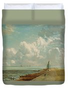 Harwich - The Low Lighthouse And Beacon Hill Duvet Cover by John Constable