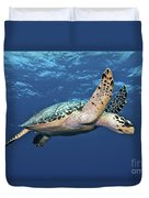 Hawksbill Sea Turtle In Mid-water Duvet Cover by Karen Doody