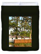 Hay Bales And Trees Duvet Cover by Todd A Blanchard