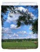 Hay Field in Summertime Duvet Cover by Douglas Barnett