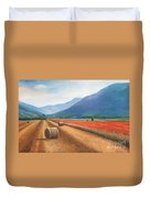 Haybales in Italy Duvet Cover by Ann  Cockerill