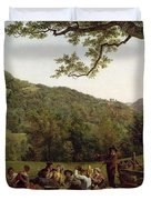 Haymakers Picnicking in a Field Duvet Cover by Jean Louis De Marne