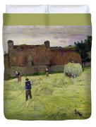 Haymaking In Brittany Duvet Cover by Paul Gauguin