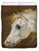 Head Of A Grey Arabian Horse  Duvet Cover by Martin Theodore Ward