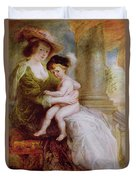Helene Fourment And Her Son Frans Duvet Cover by Rubens