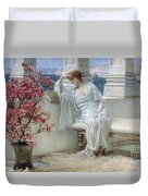 Her Eyes Are With Her Thoughts And They Are Far Away Duvet Cover by Sir Lawrence Alma-Tadema