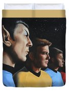 Heroes Of The Final Frontier Duvet Cover by Kim Lockman