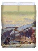 Hillside At Croisset Under Snow Duvet Cover by Joseph Delattre