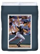 Hit Man  Don Mattingly  Duvet Cover by Iconic Images Art Gallery David Pucciarelli
