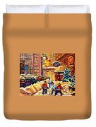 Hockey Fever Hits Montreal Bigtime Duvet Cover by Carole Spandau