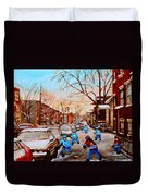 Hockey Gameon Jeanne Mance Street Montreal Duvet Cover by Carole Spandau