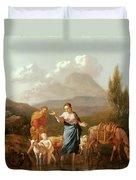 Holy Family At A Stream Duvet Cover by Karel Dujardin