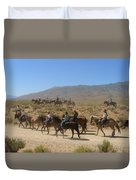 Horse Drive From June Lake To Bishop California Duvet Cover by Christine Till