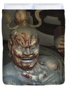 Horyu-ji Temple Gate Guardian - Nara Japan Duvet Cover by Daniel Hagerman