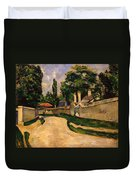 Houses Along A Road Duvet Cover by Paul Cezanne