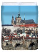Hradcany - cathedral of St Vitus and Charles bridge Duvet Cover by Michal Boubin