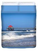 Huntington Beach Pier Photo Duvet Cover by Paul Velgos