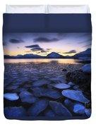 Ice Flakes Drifting Against The Sunset Duvet Cover by Arild Heitmann