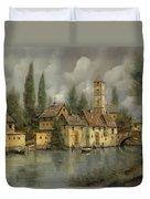 Il Borgo Sul Fiume Duvet Cover by Guido Borelli