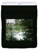 Ile De La Grande Jatte Through The Trees Duvet Cover by Claude Monet