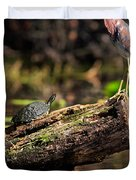 Immature Tri-colored Heron And Peninsula Cooter Turtle Duvet Cover by Matt Suess