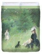 In A Park Duvet Cover by Berthe Morisot