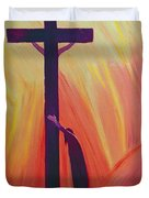 In our sufferings we can lean on the Cross by trusting in Christ's love Duvet Cover by Elizabeth Wang