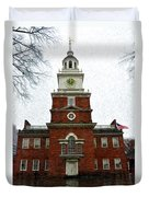 Independence Hall In Philadelphia Duvet Cover by Bill Cannon