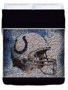Indianapolis Colts Bottle Cap Mosaic Duvet Cover by Paul Van Scott