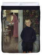 Interior With Women And A Child Duvet Cover by Paul Mathey