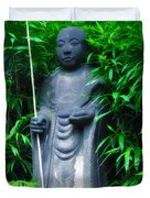 Japanese House Monk Statue Duvet Cover by Bill Cannon