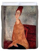 Jeanne Hebuterne In A Yellow Jumper Duvet Cover by Amedeo Modigliani