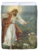 Jesus Christ The Tender Shepherd Duvet Cover by Ambrose Dudley
