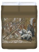 Jesus Meets His Mother Duvet Cover by Tissot