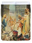 Jesus Removing the Money Lenders from the Temple Duvet Cover by James Edwin McConnell