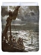 Jesus Walking Upon The Sea Duvet Cover by William Brassey Hole