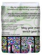 Jewish Seven Wedding Blessings Tree Of Life Hamsas Duvet Cover by Sandra Silberzweig