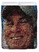 Jimmy Buffet Bottle Cap Mosaic Duvet Cover by Paul Van Scott